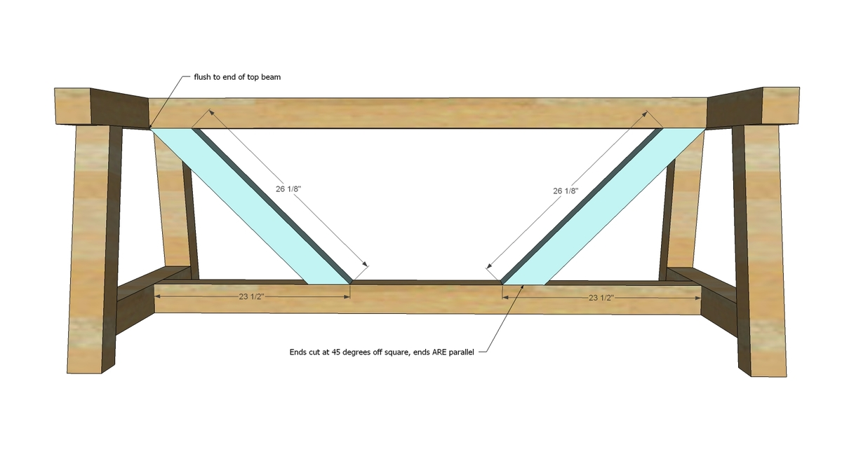 Ana white 4x4 truss beam table diy projects for Post trestle farm table plans