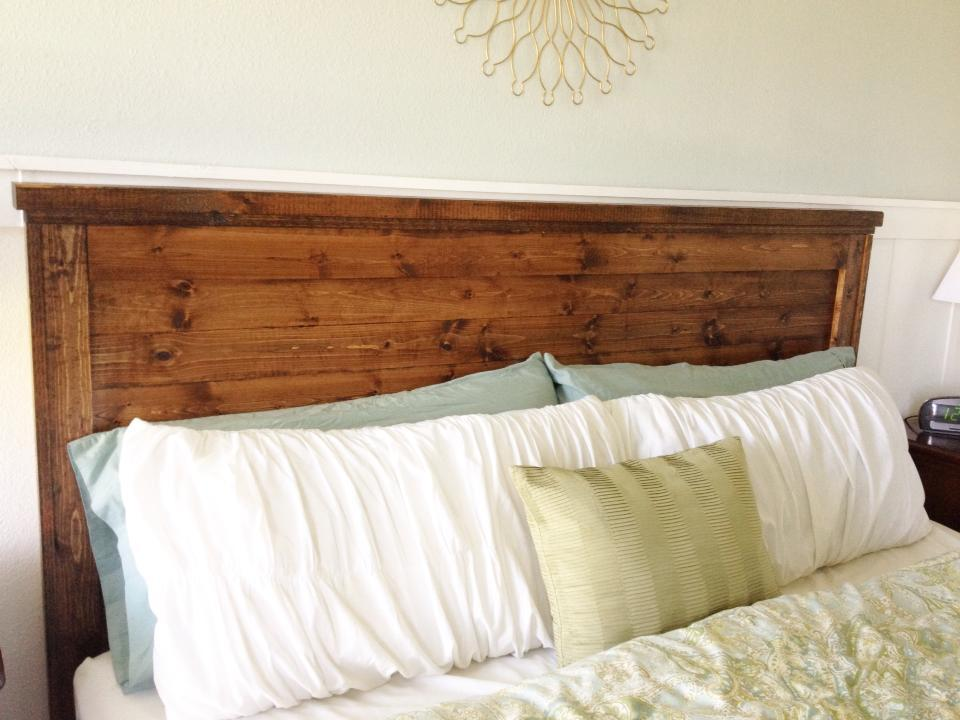 Diy king headboard finest our new headboard ours has more for Do it yourself headboard