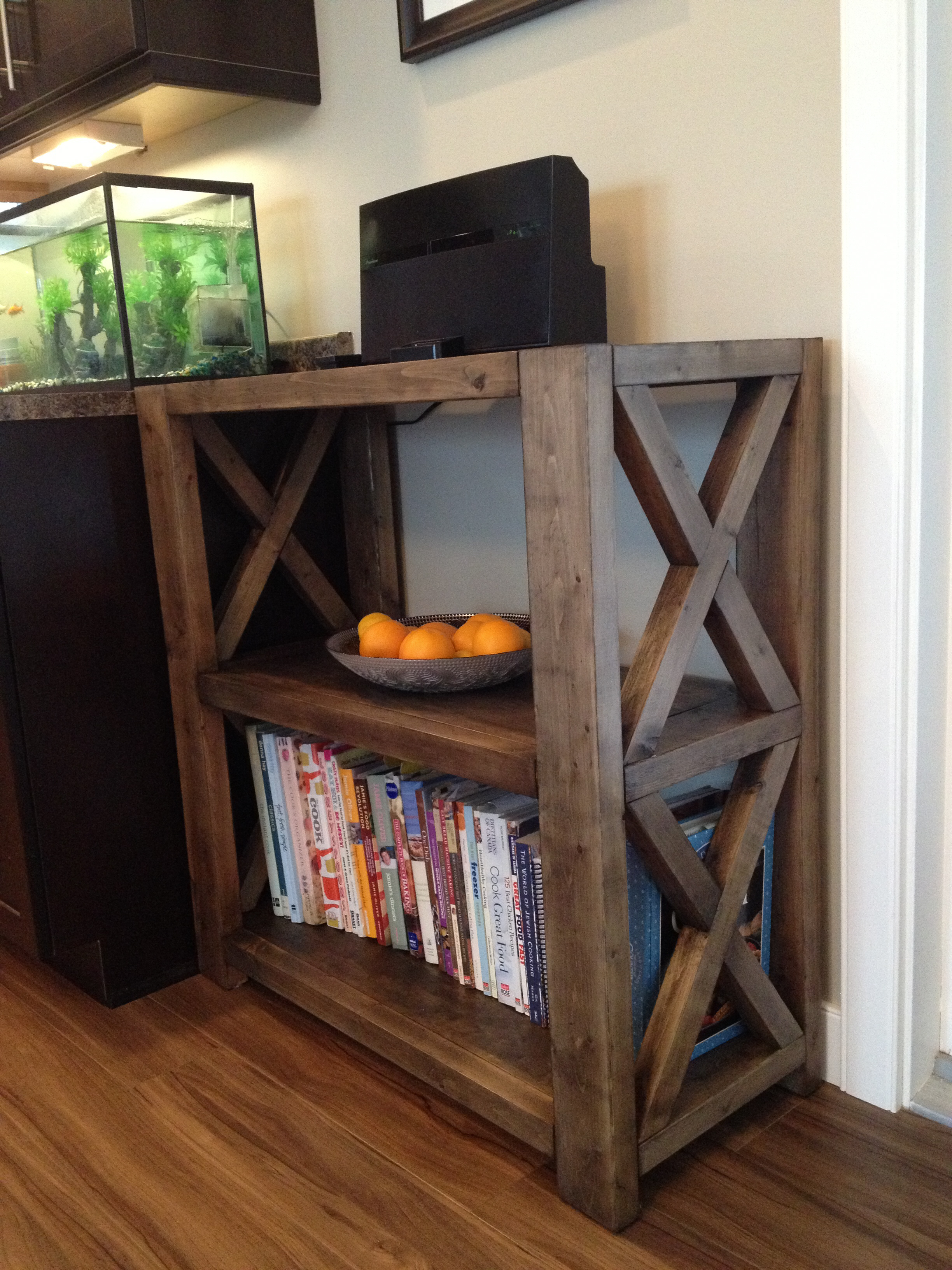 ana white rustic x bookshelf short diy projects