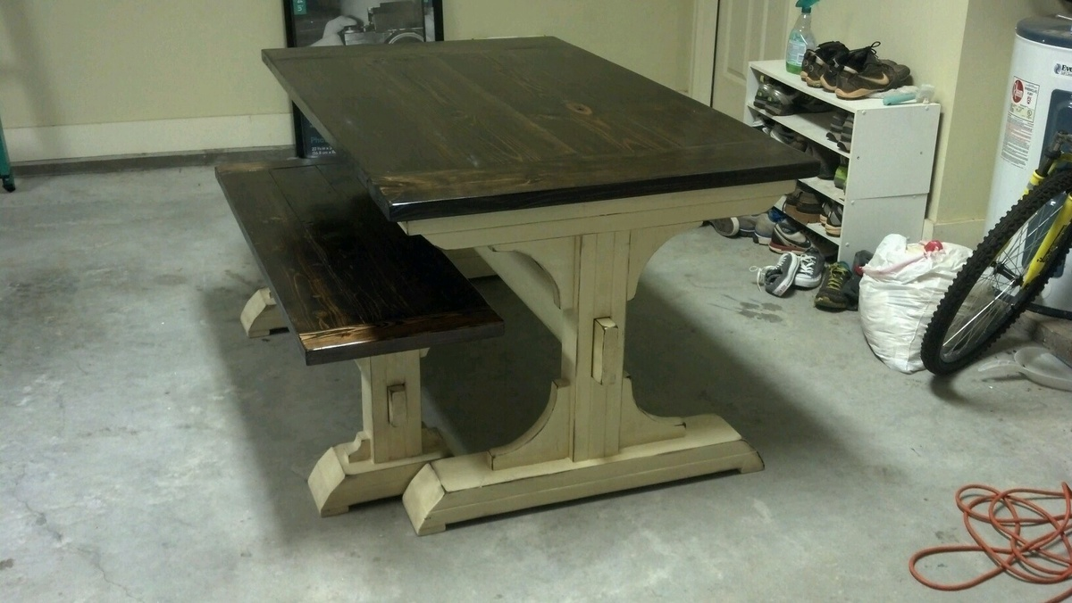 Double Pedestal Breakfast Table And Bench