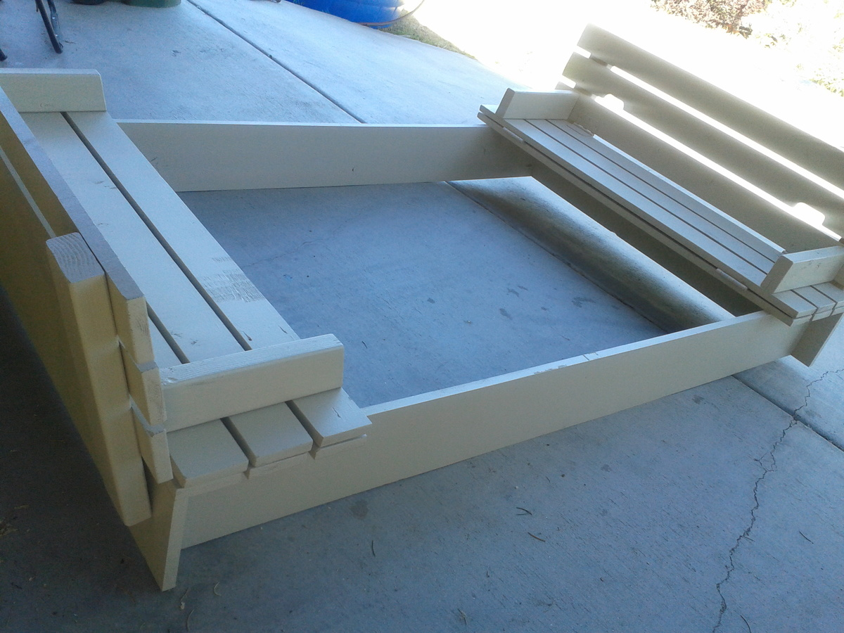 Awesome picture of diy sandbox with seats fabulous homes for Sandbox with built in seats plans
