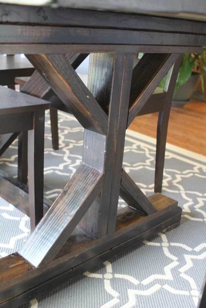 Ana white amusingmj 39 s fancy x leg farmhouse table diy for Farmhouse table plans with x legs