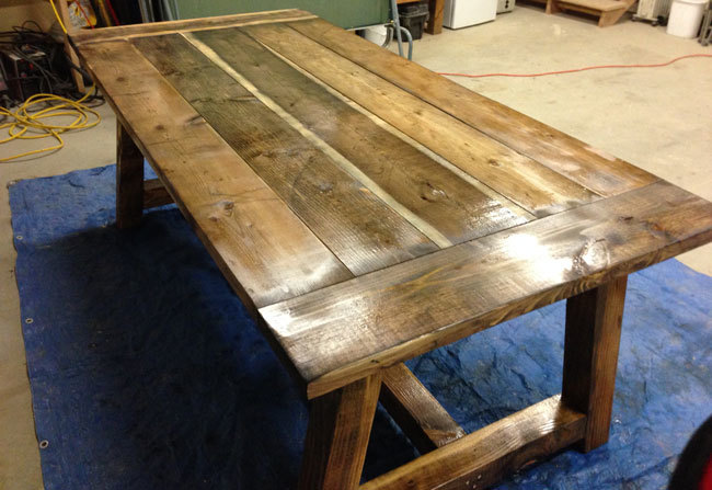 Ana white rustic farmhouse table with distressed finish for Farmhouse table plans with x legs