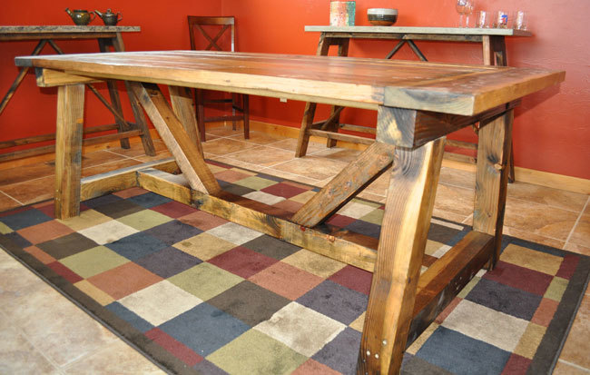Ana white rustic farmhouse table with distressed finish for Building a farmhouse