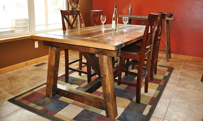 Ana white rustic farmhouse table with distressed finish for Ana white x dining room table