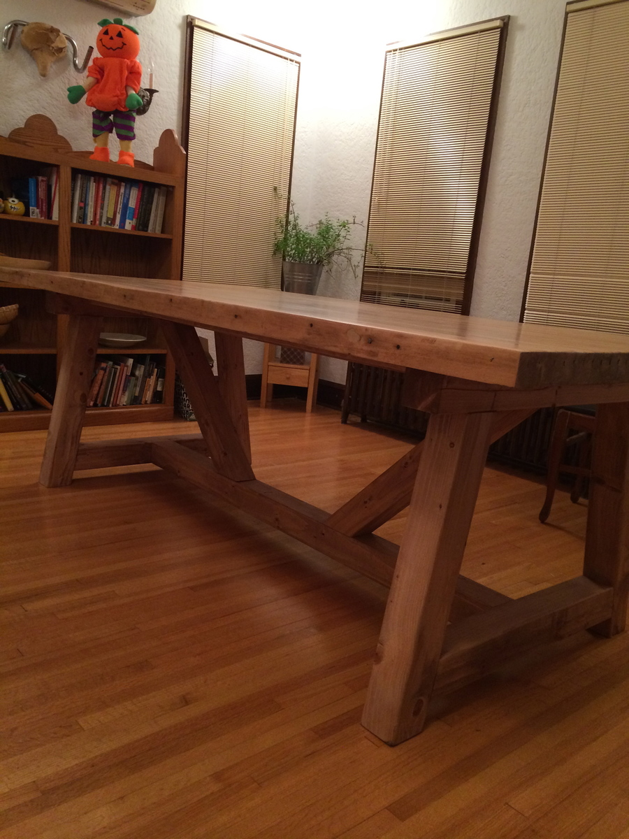 Ana White Farmhouse Table With Bowling Alley Top Diy
