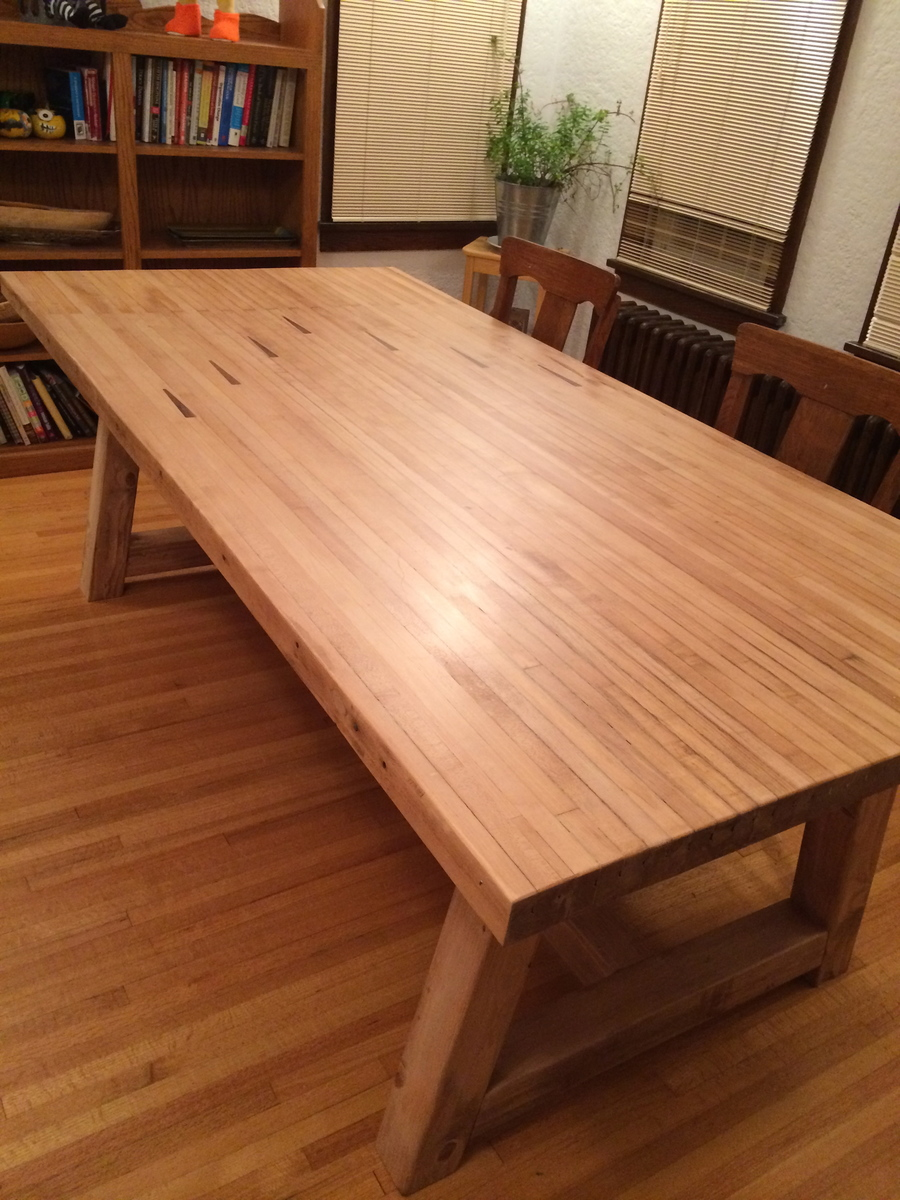 Farmhouse Table With Bowling Alley Top Ana White