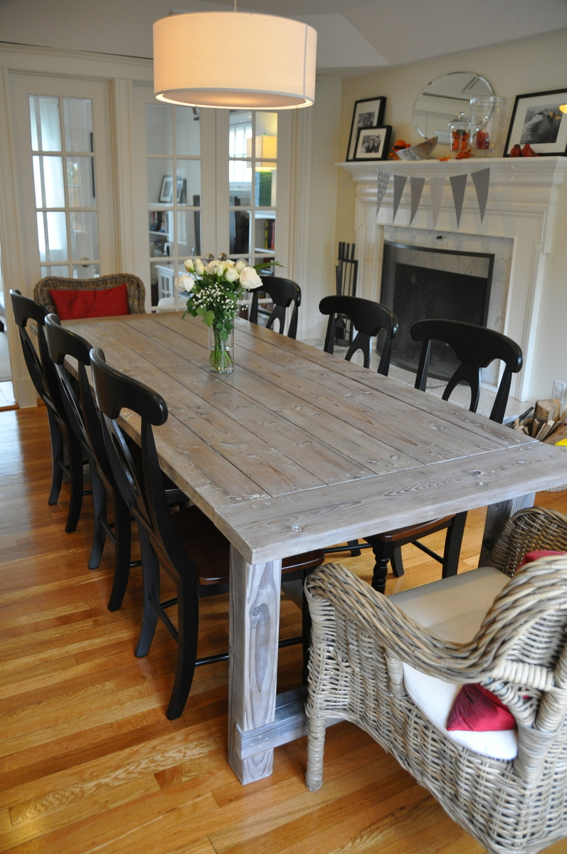 Ana white farmhouse table with extensions diy projects for Ana white x dining room table