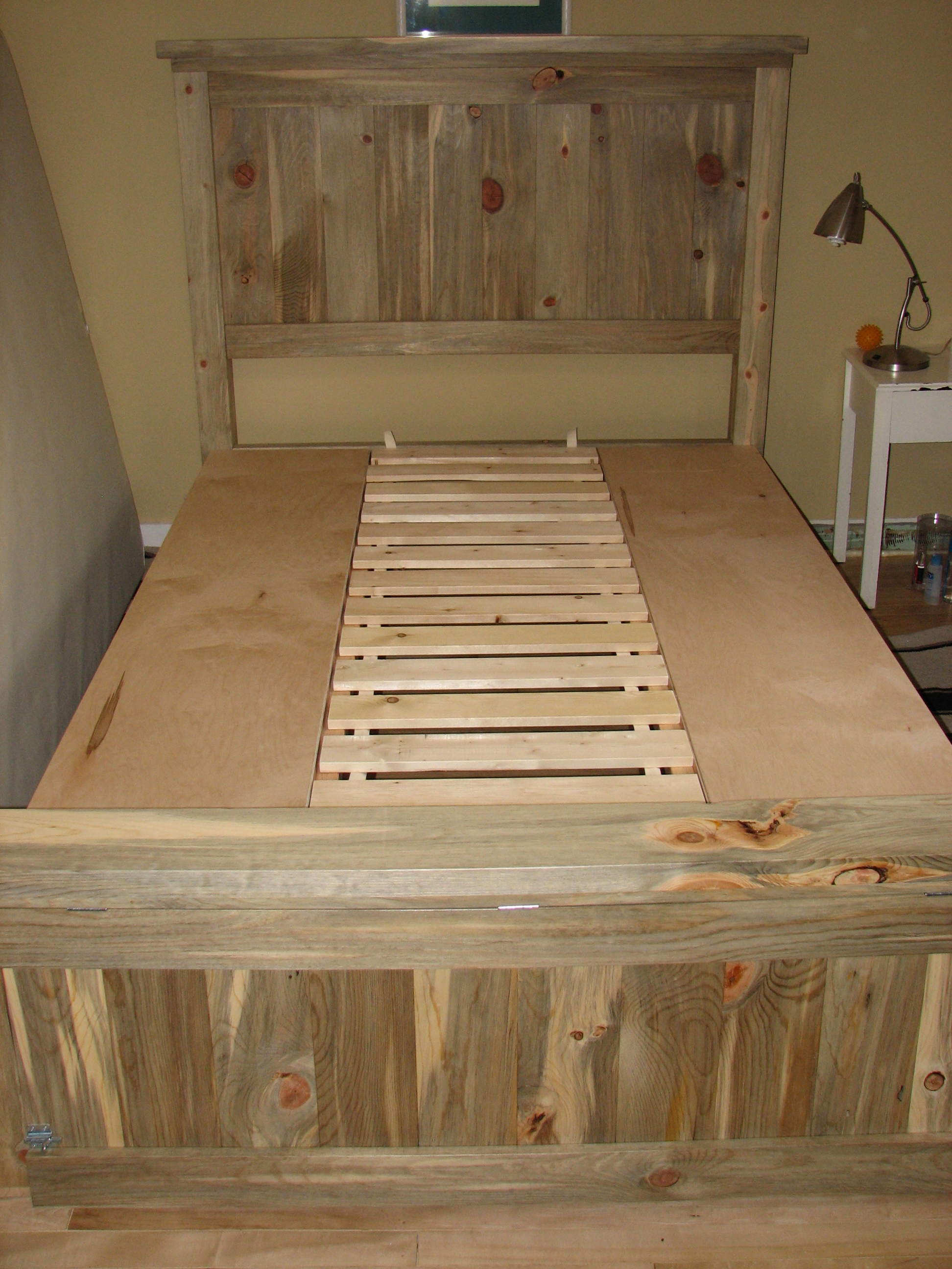 Ana White Blue Stain Pine Farmhouse Storage Bed Diy