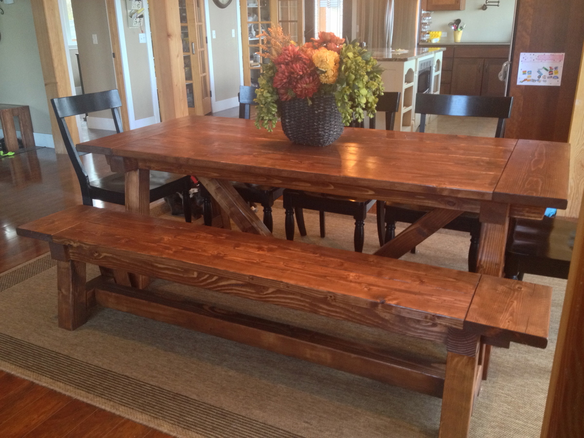 Ana white 4x4 truss beam table and bench diy projects for 4x4 dining table