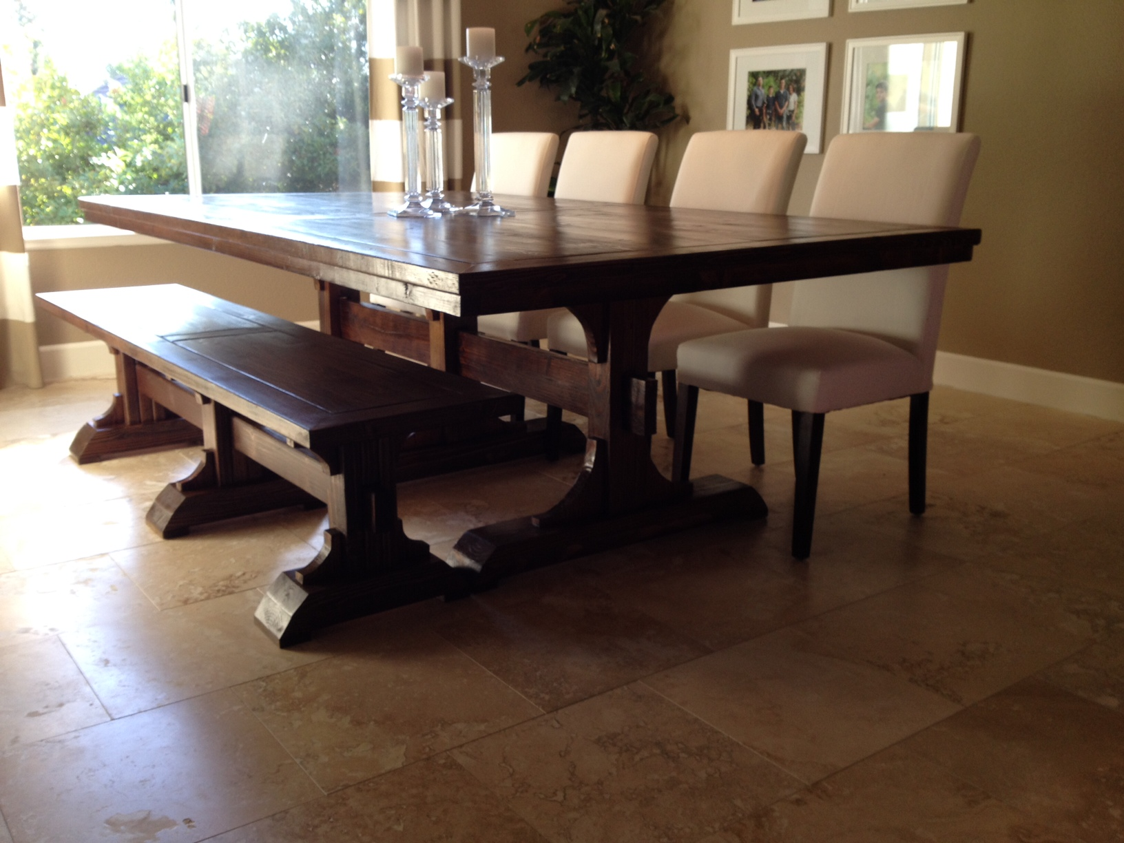 Triple Pedestal Farmhouse Table And Bench