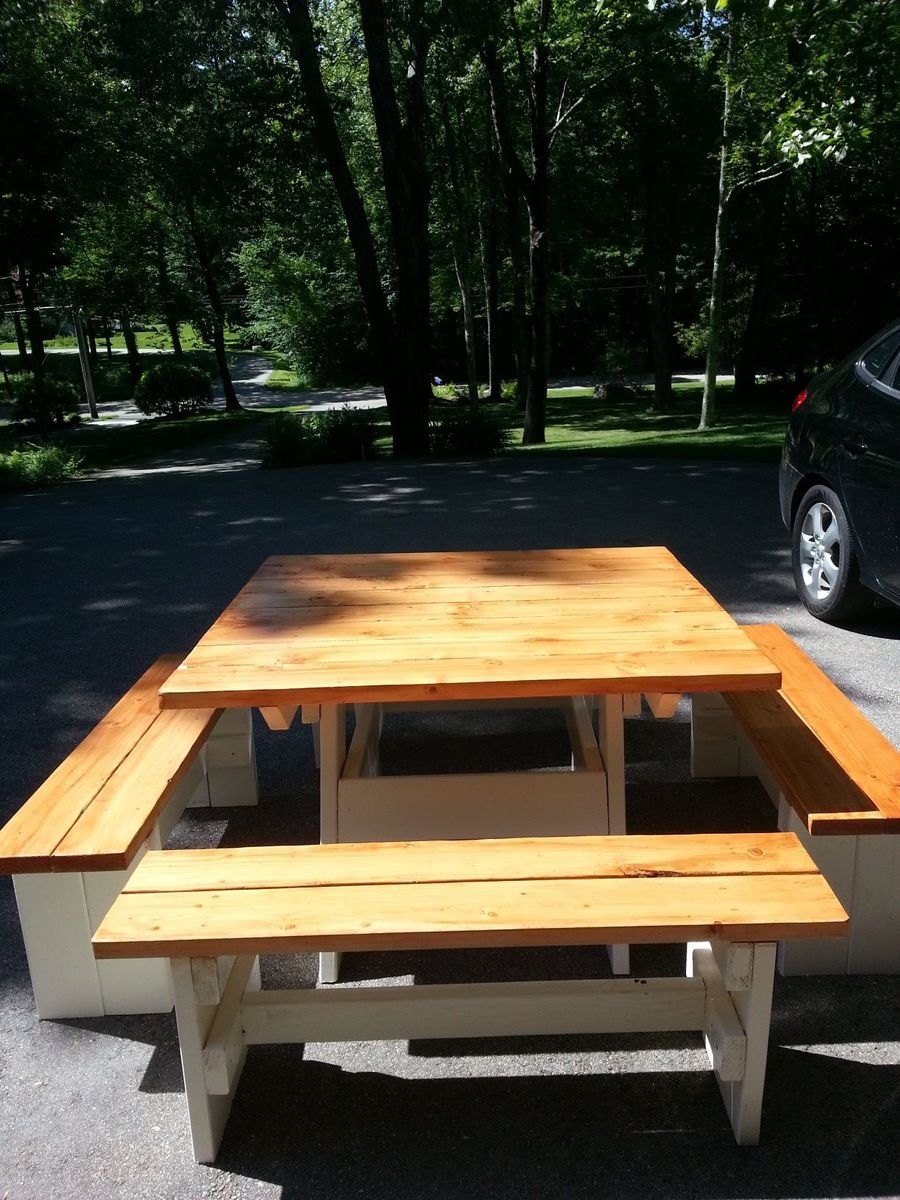 Ana white picnic table and benches diy projects for 10 person picnic table