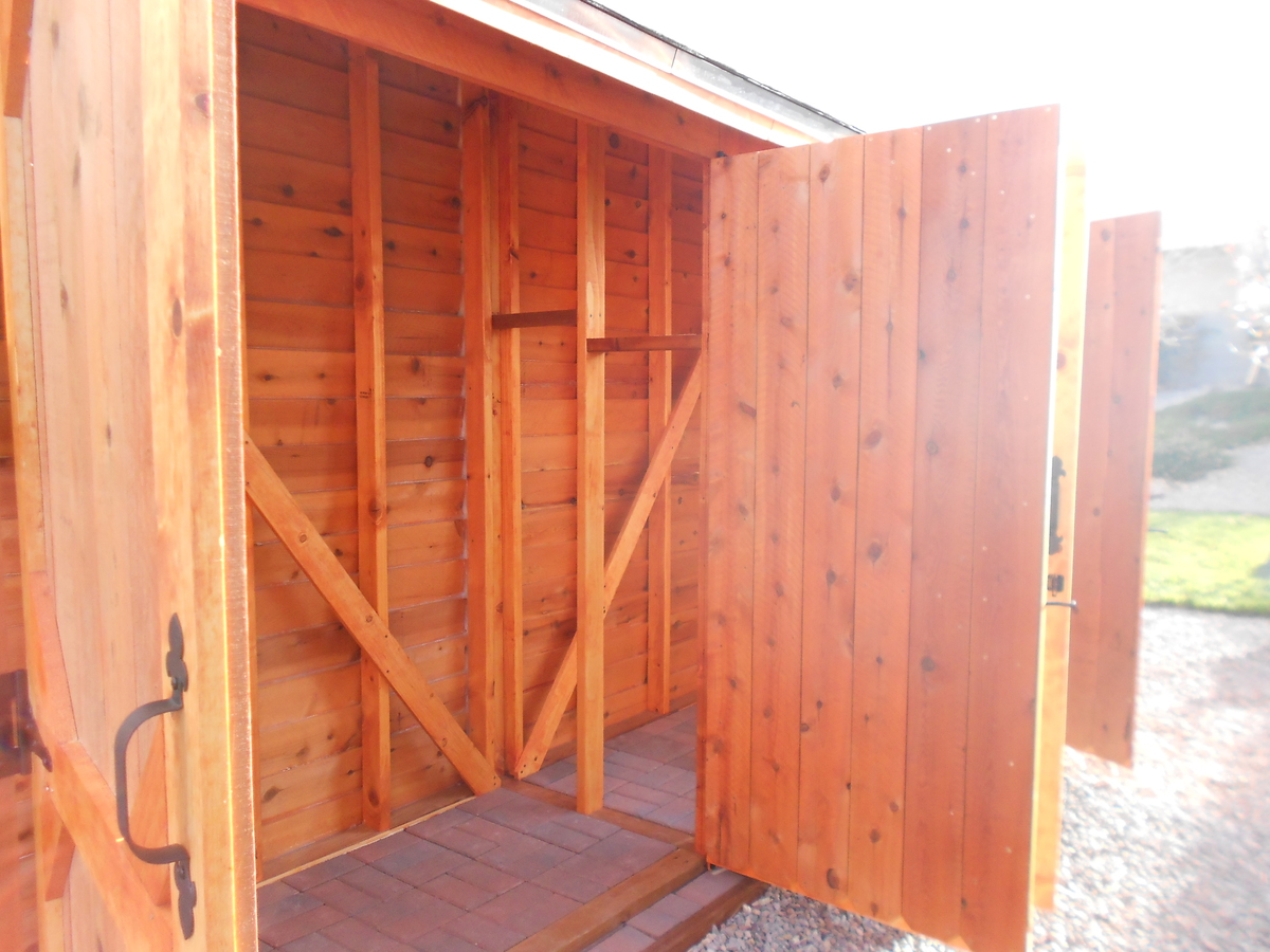 Double Wide Cedar Fence Picket Storage Shed Ana White