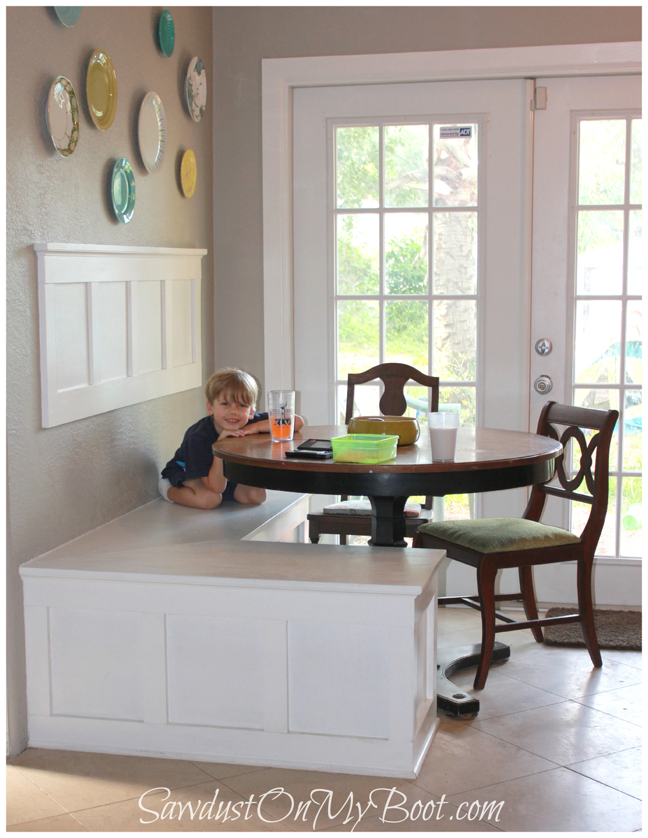 Ana white board batten banquette diy projects for Small built in kitchen