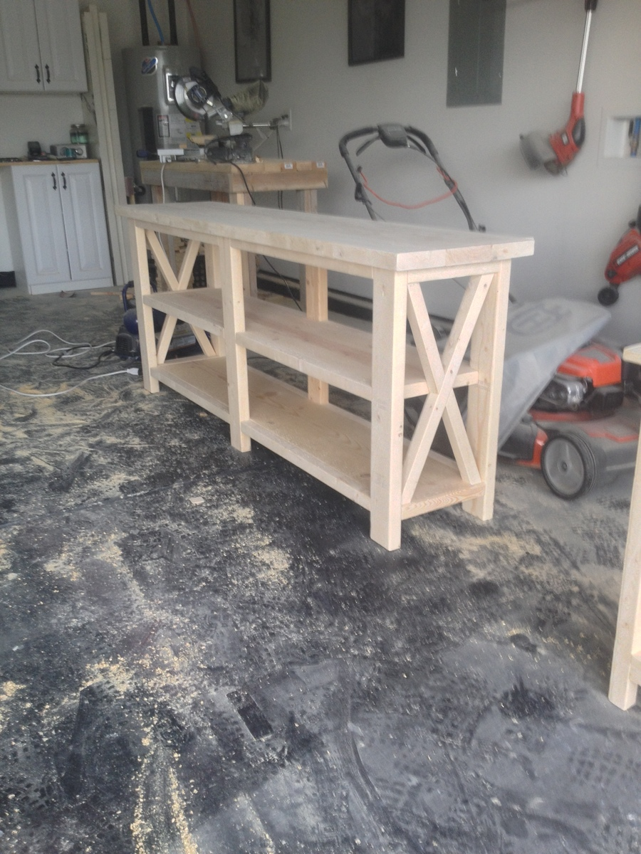 Ana white rustic x console table diy projects rustic x console table geotapseo Choice Image