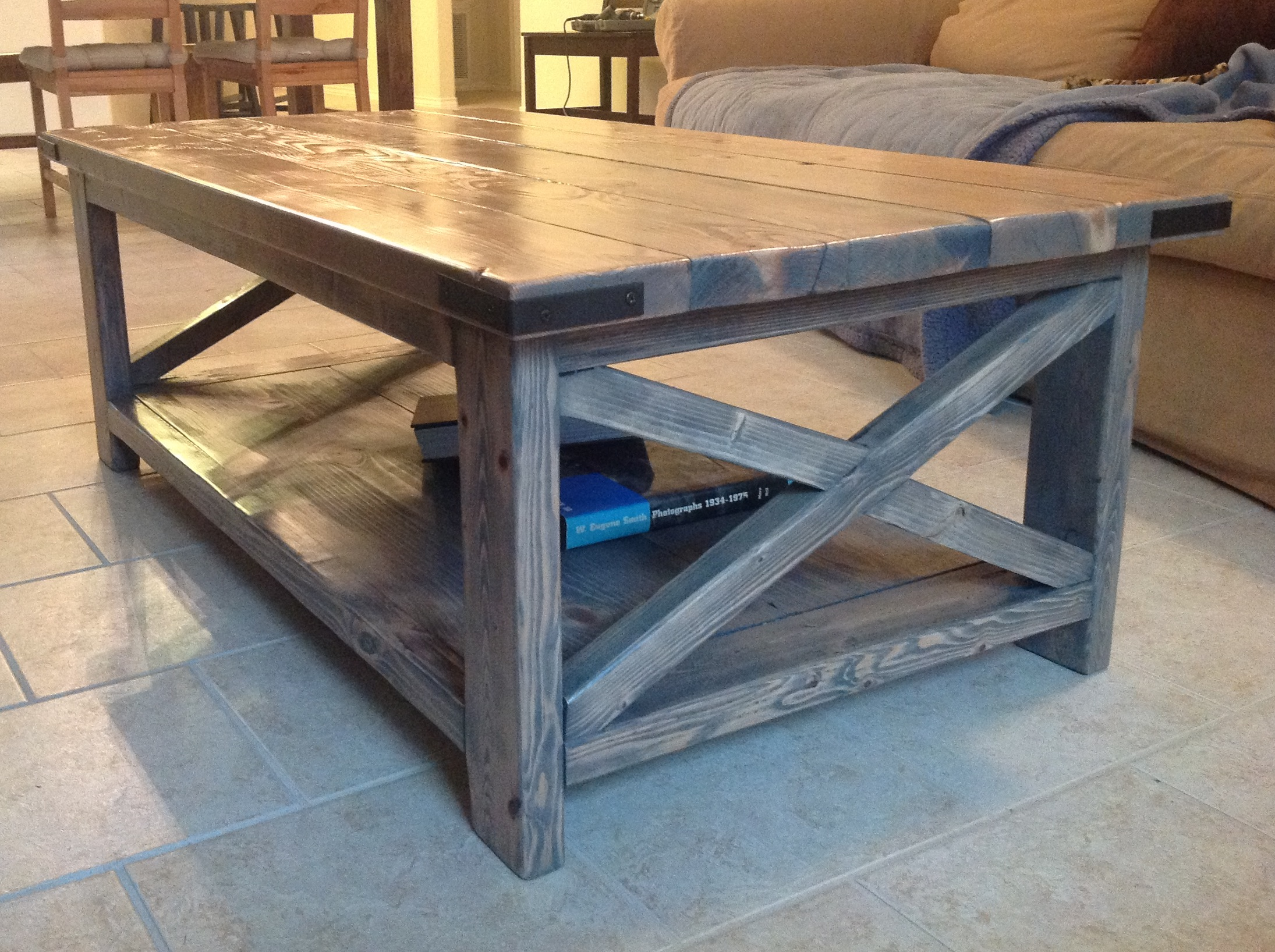 Rustic X Coffee Table With Minwax Classic Gray Stain