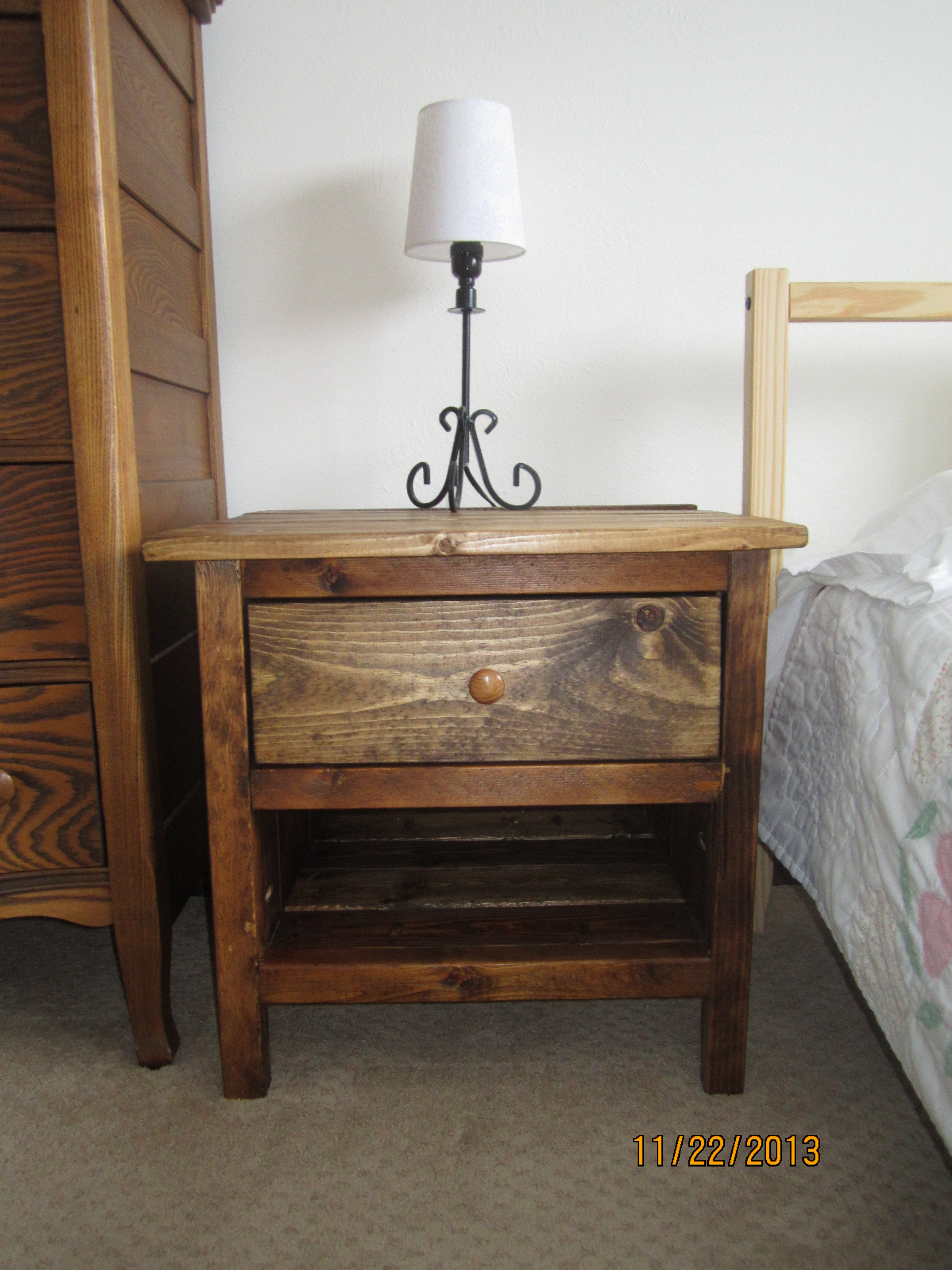 Ana white reclaimed wood bedside table diy projects for Diy bedside cabinet