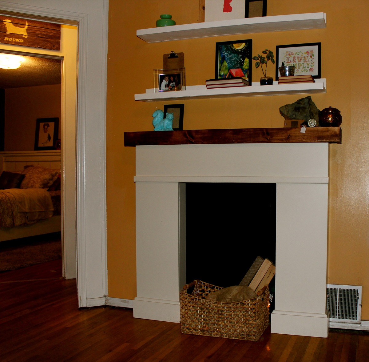 Ana white simple faux fireplace diy projects for Small fake fireplace