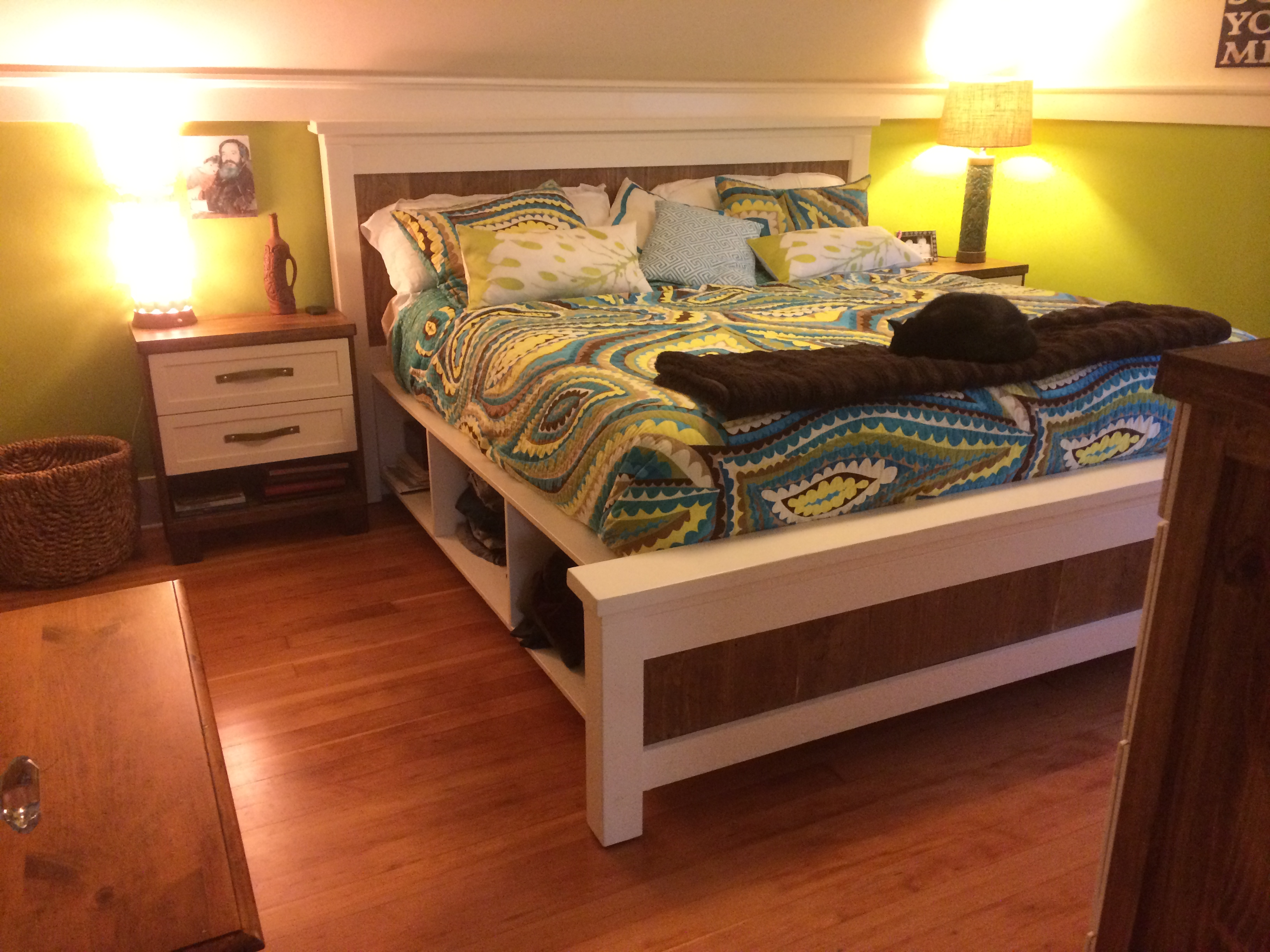 Ana White | King Size Farmhouse Storage bed from 2 Ana White PLans ...