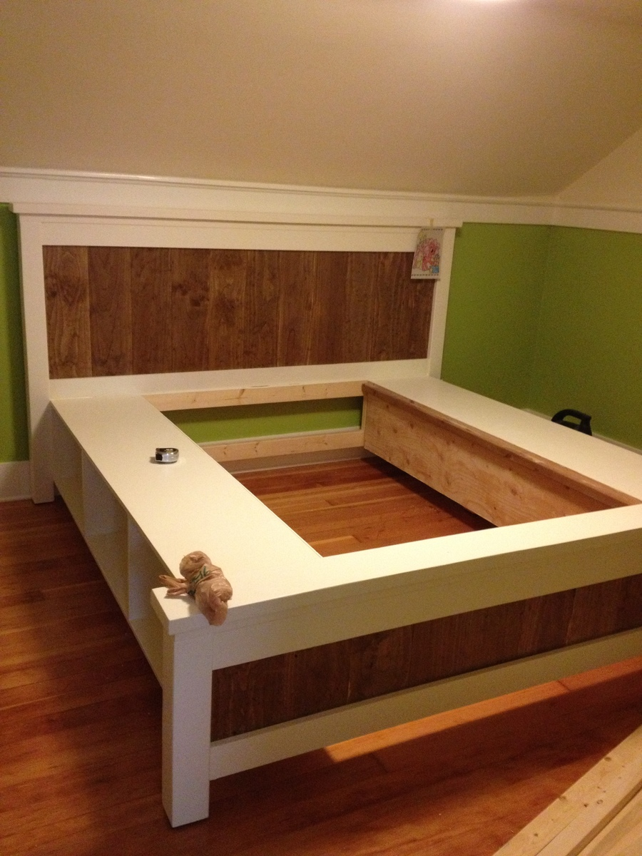 Ana White | King Size Farmhouse Storage bed from 2 Ana White PLans - DIY Projects