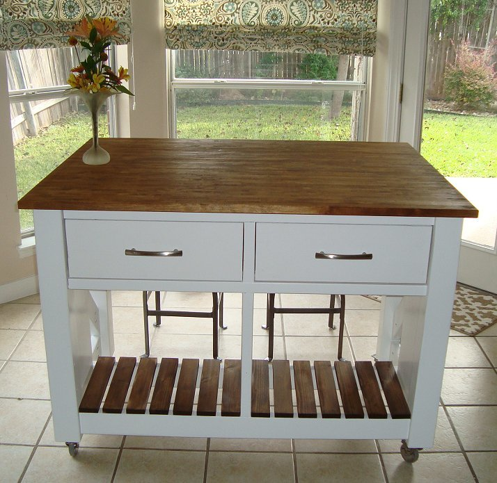 Ana white rustic x kitchen island done diy projects - Ana white kitchen table ...