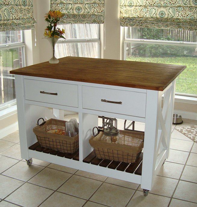 Ana white rustic x kitchen island done diy projects - Islas de cocina moviles ...