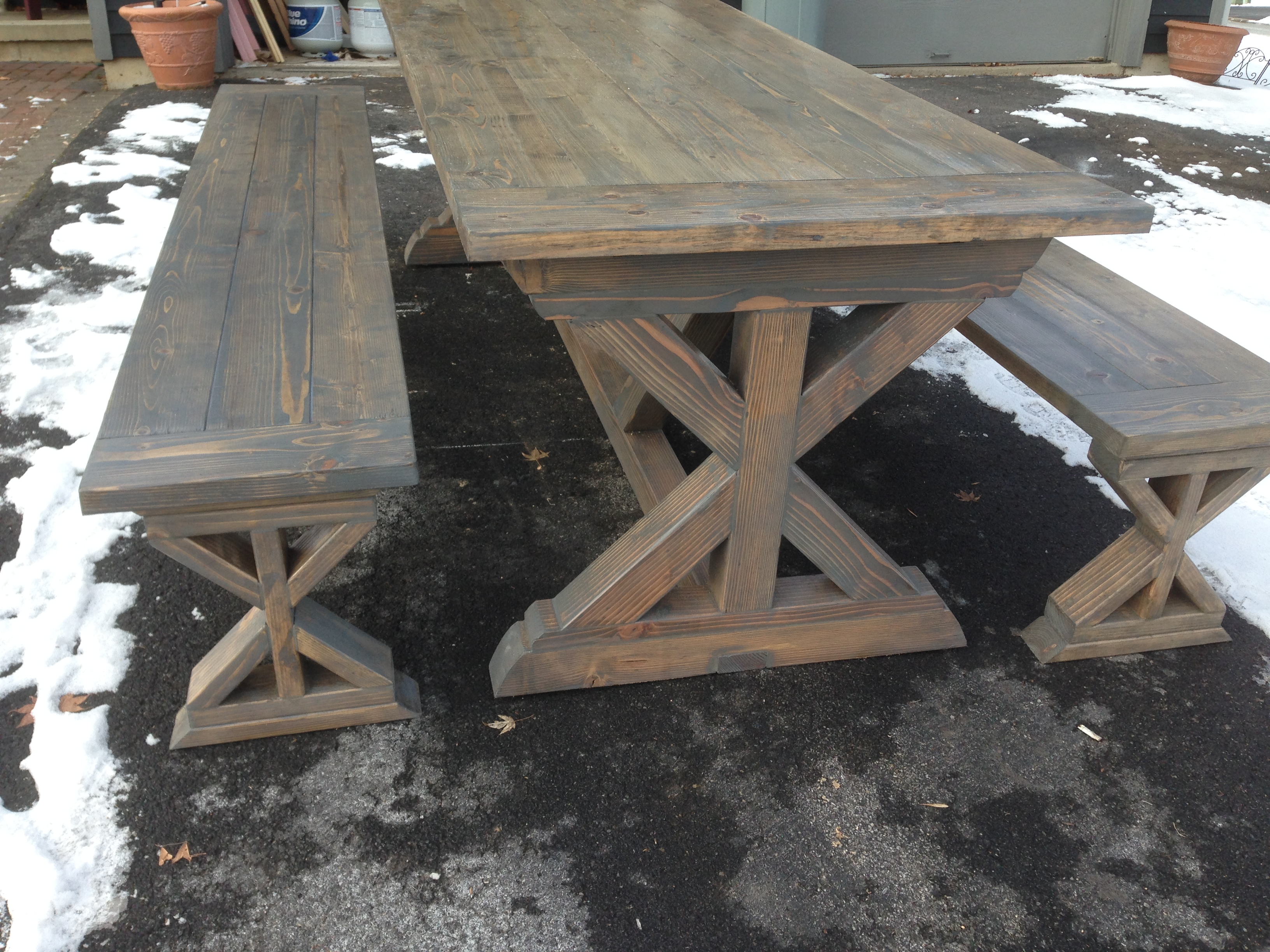 and table pin farmhouse weathered projects white benches gray x diy ana two bench tone