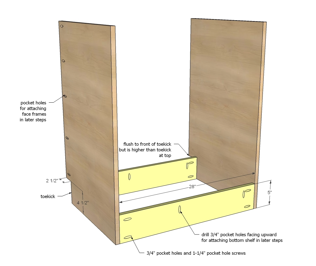 Cute  on outsides for attaching face frames in later steps and shelf pin holes for adjustable shelves on insides with the toekick at the bottom front