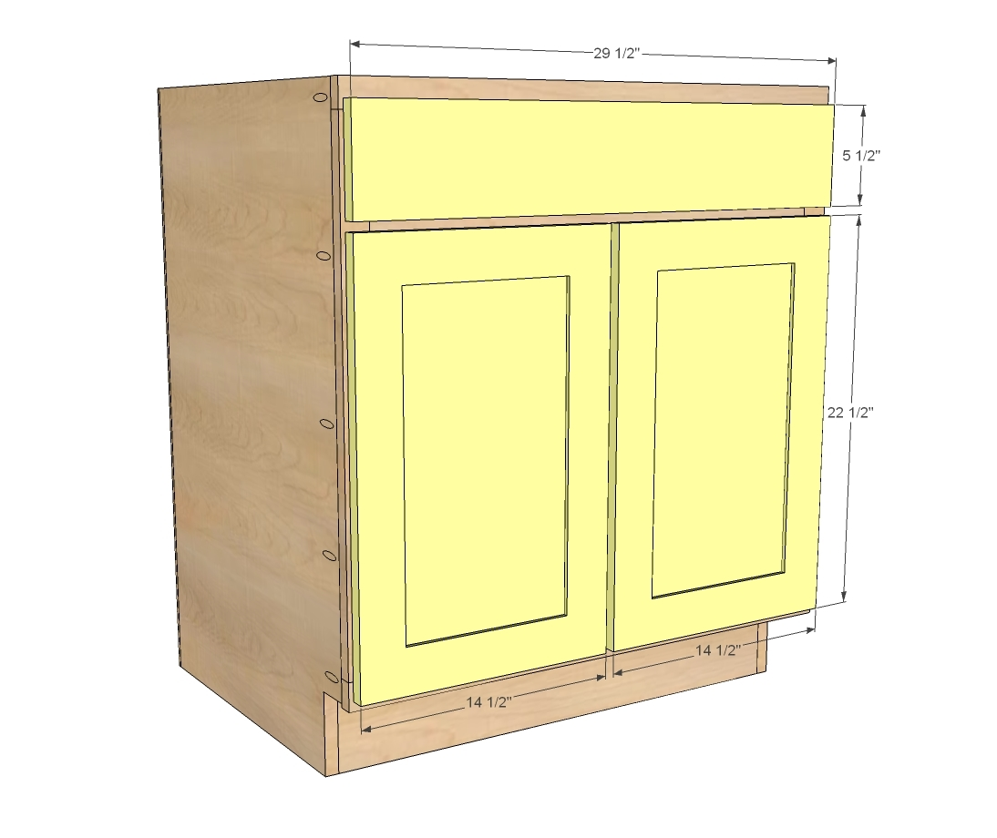 "Kitchen Base Cabinets Dimensions: 30"" Sink Base - Momplex Vanilla Kitchen - DIY"