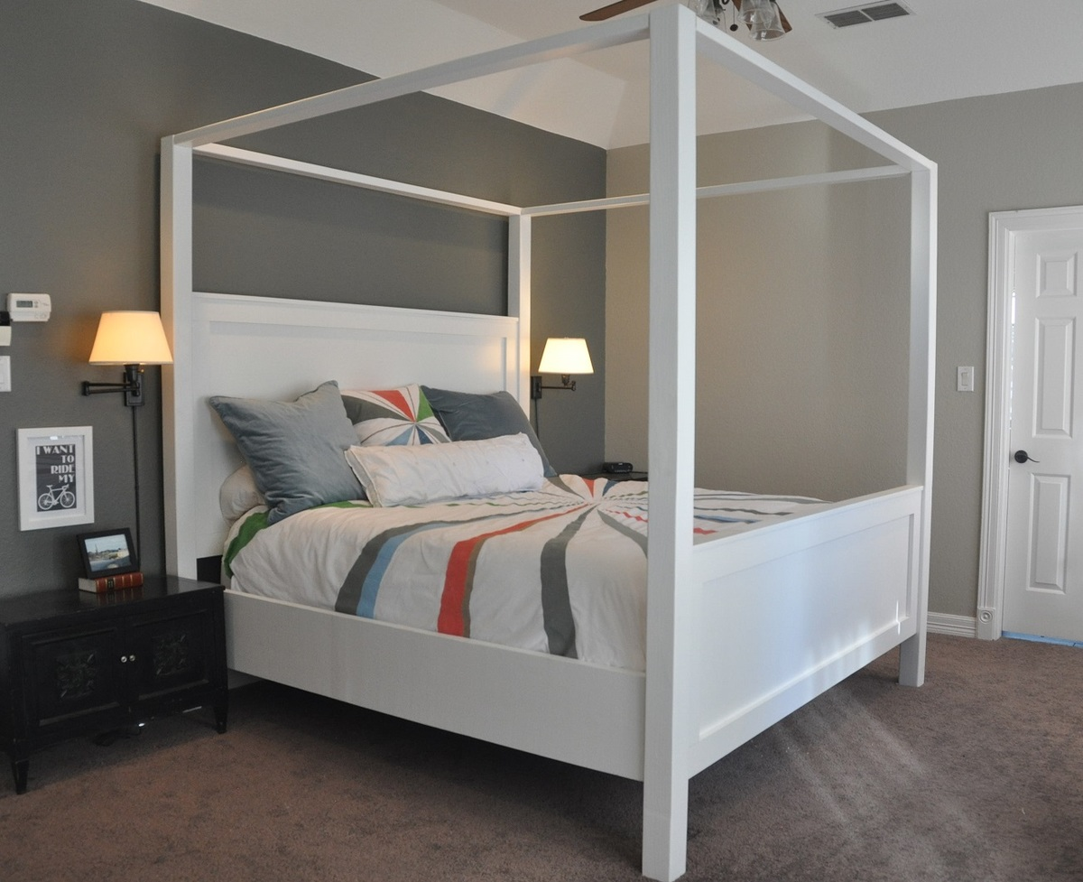 Modern King Farmhouse Bed with Canopy
