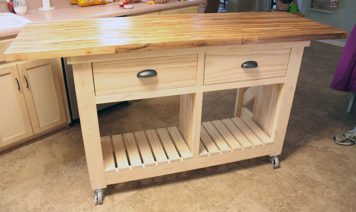Ana white double kitchen island with butcher block top diy projects double kitchen island with butcher block top workwithnaturefo