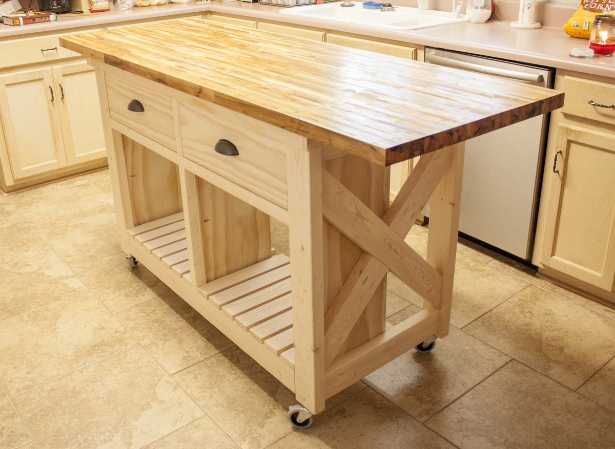 ana white | double kitchen island with butcher block top - diy