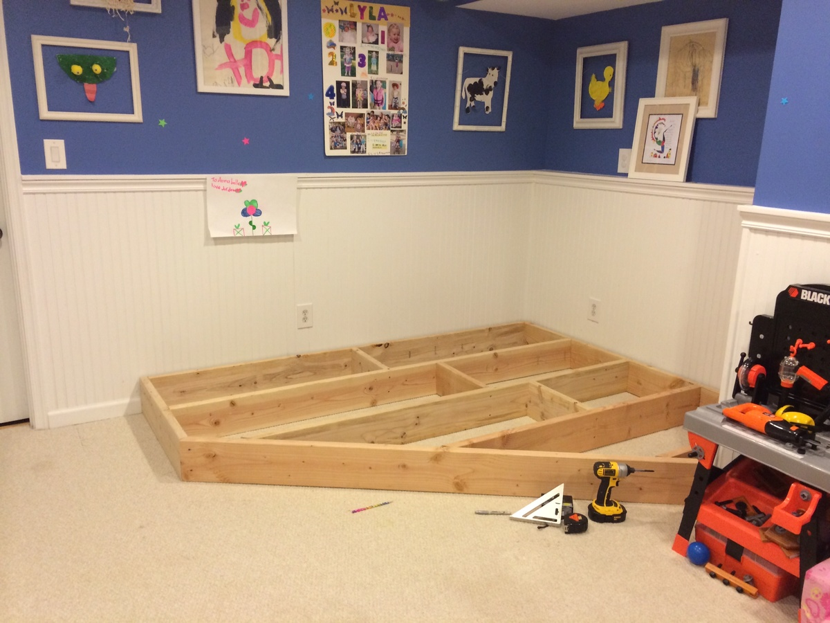 Ana white playroom stage diy projects for Creating a playroom
