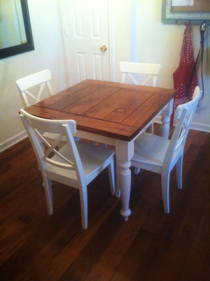 Ana white square turned leg farmhouse kitchen table for Kitchen tables for small kitchens