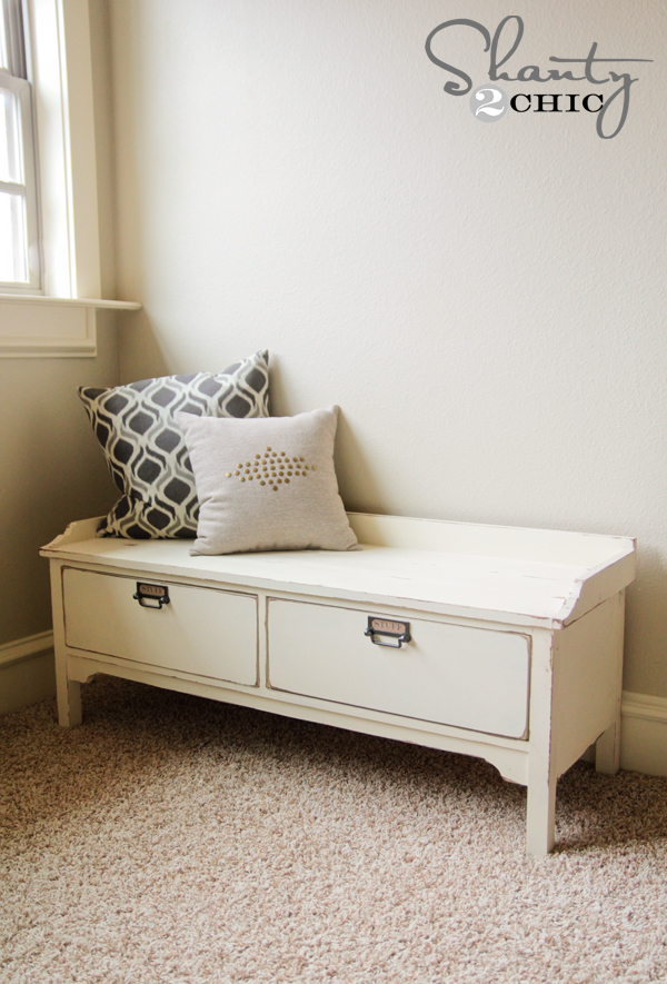 Free plans to build a Pottery Barn vintage style bench from Ana-White ...
