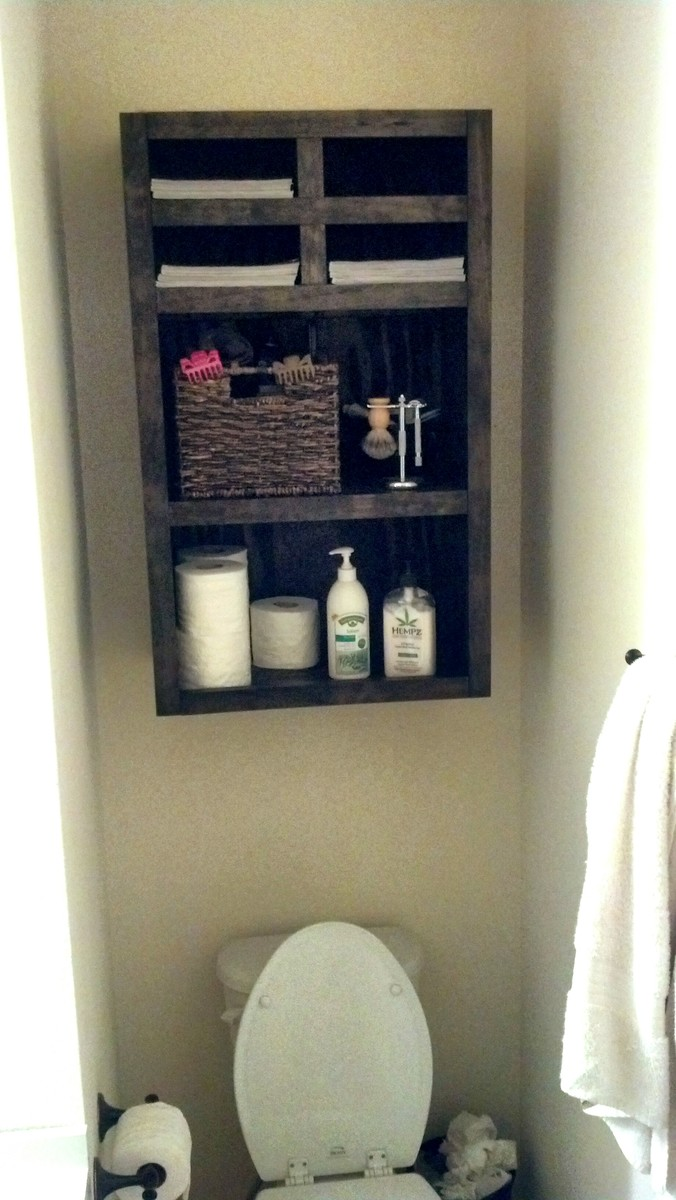Ana white bathroom wall storage diy projects - What to hang above toilet ...