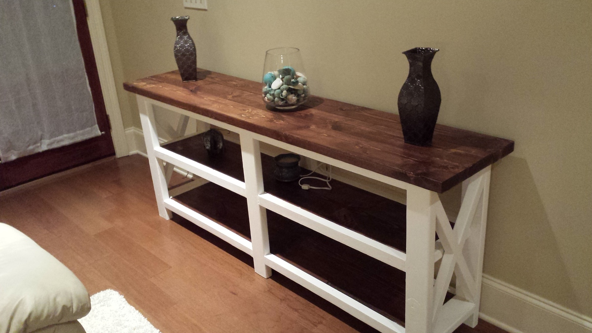 Ana White | Rustic X Console Table (The Beginning) - DIY Projects