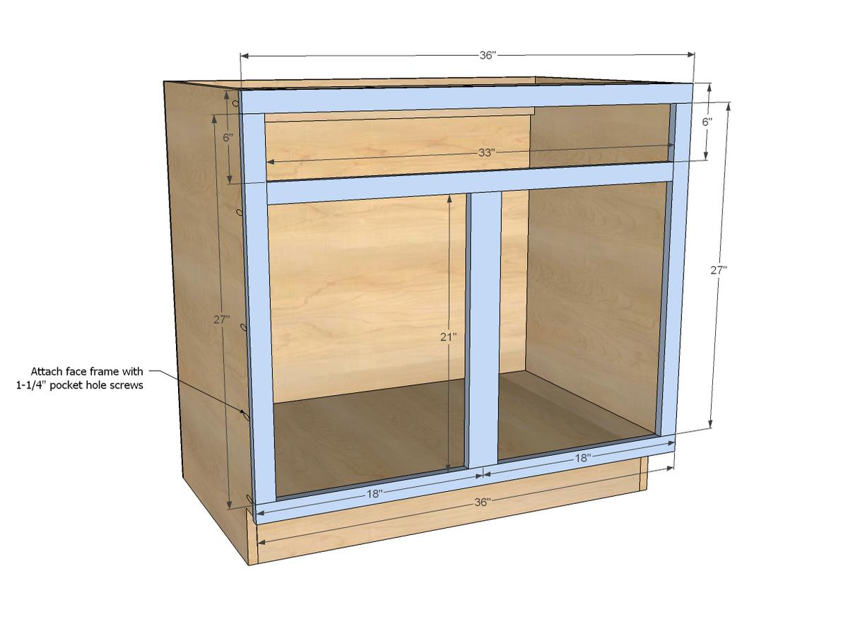 Ana White 36 Sink Base Kitchen Cabinet Momplex Vanilla Diy Projects