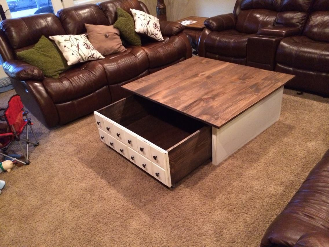 Square Apothecary Coffee Table With Toy Box Rrundle