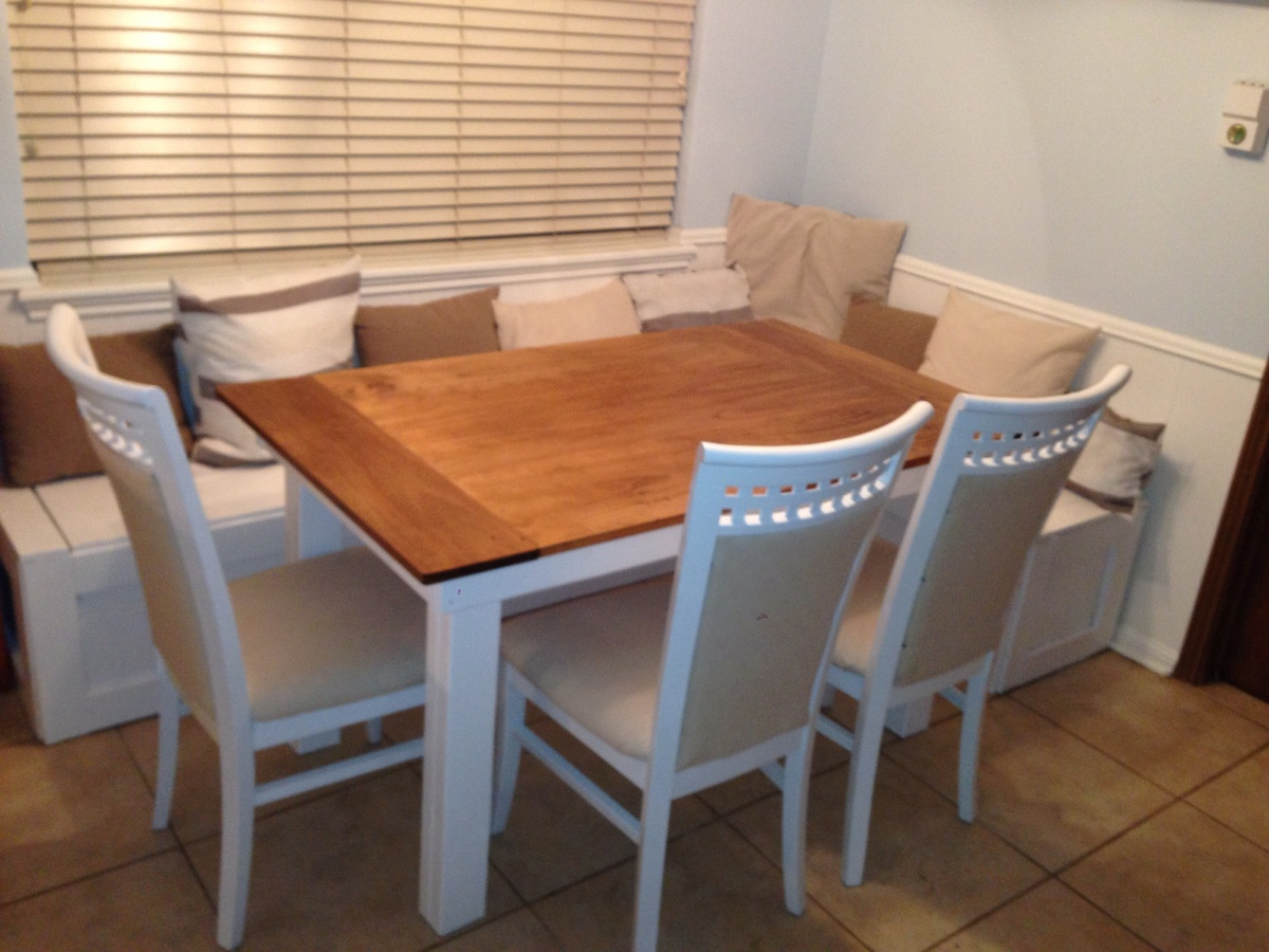 Ana white breakfast nook benches with table diy projects Corner bench table