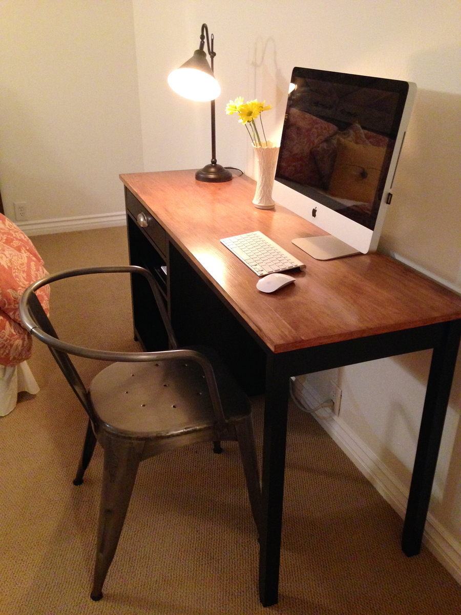 Ana White Black Channing Desk W Stained Top Diy Projects