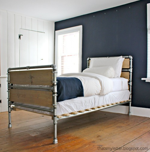 New What could be better than a bed made of iron pipes Why one with some wood mixed in too