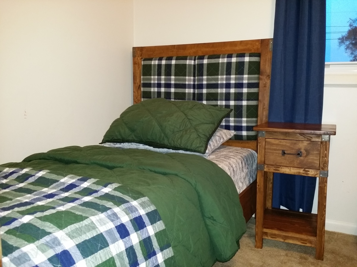 Rustic Twin Bed With Upholstered Headboard Matching