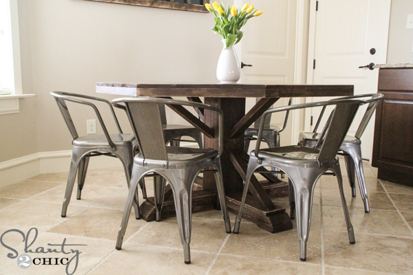 farmhouse round dining table with metal chairs