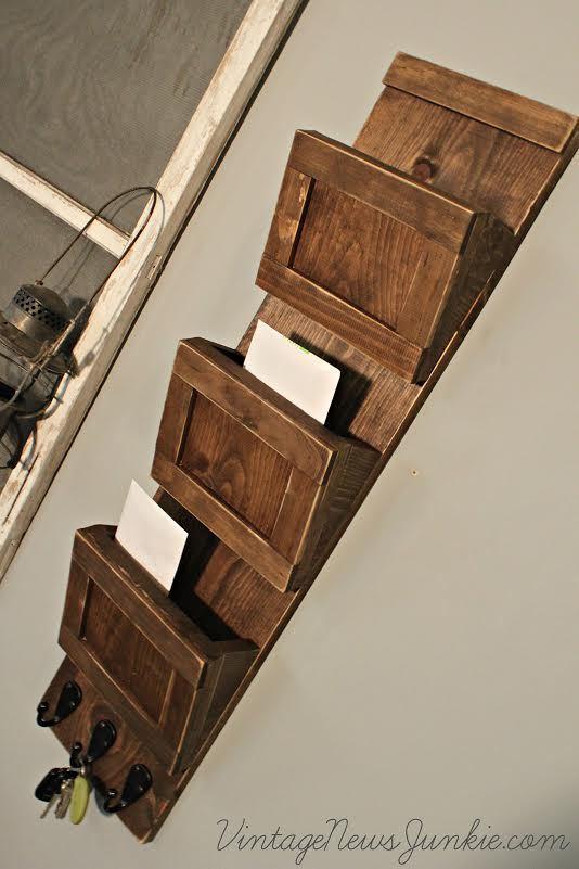 Wood Mail Sorter With Key Hooks Ana White