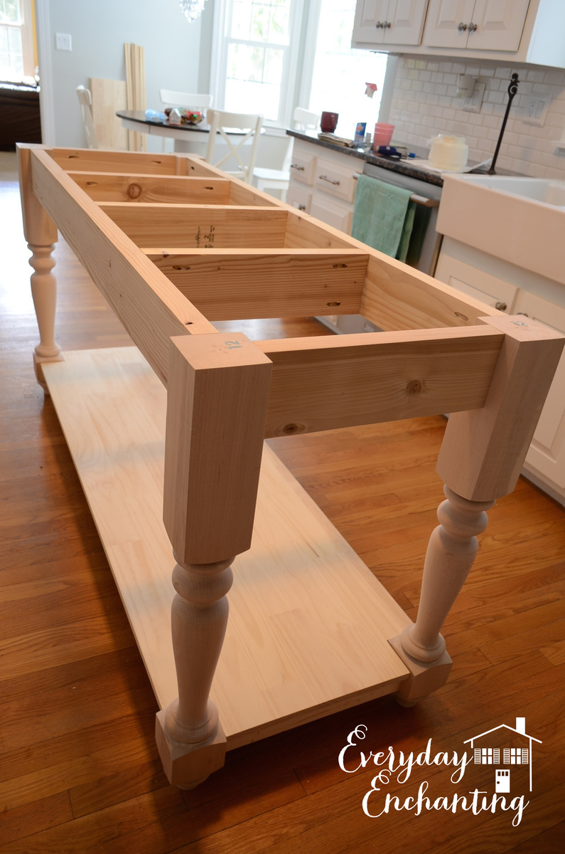 Ana white modified kitchen island from the handbuilt for Kitchen island table