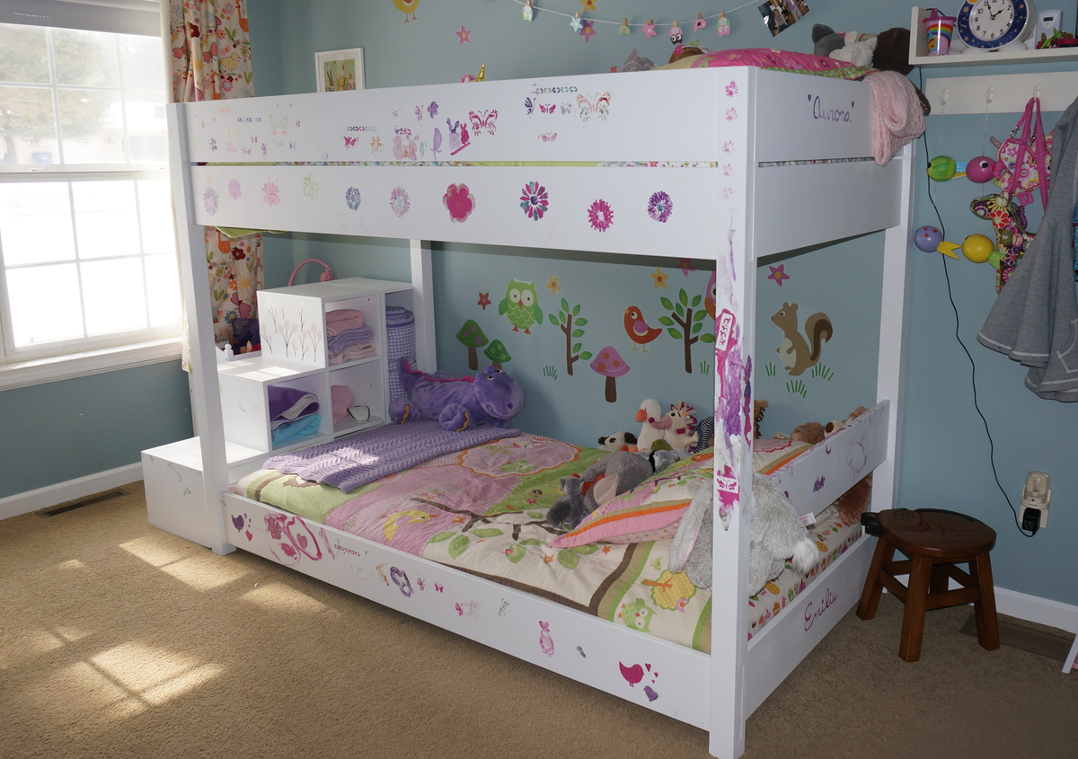 ana white kids bunk bed with storage stairs diy projects. Black Bedroom Furniture Sets. Home Design Ideas
