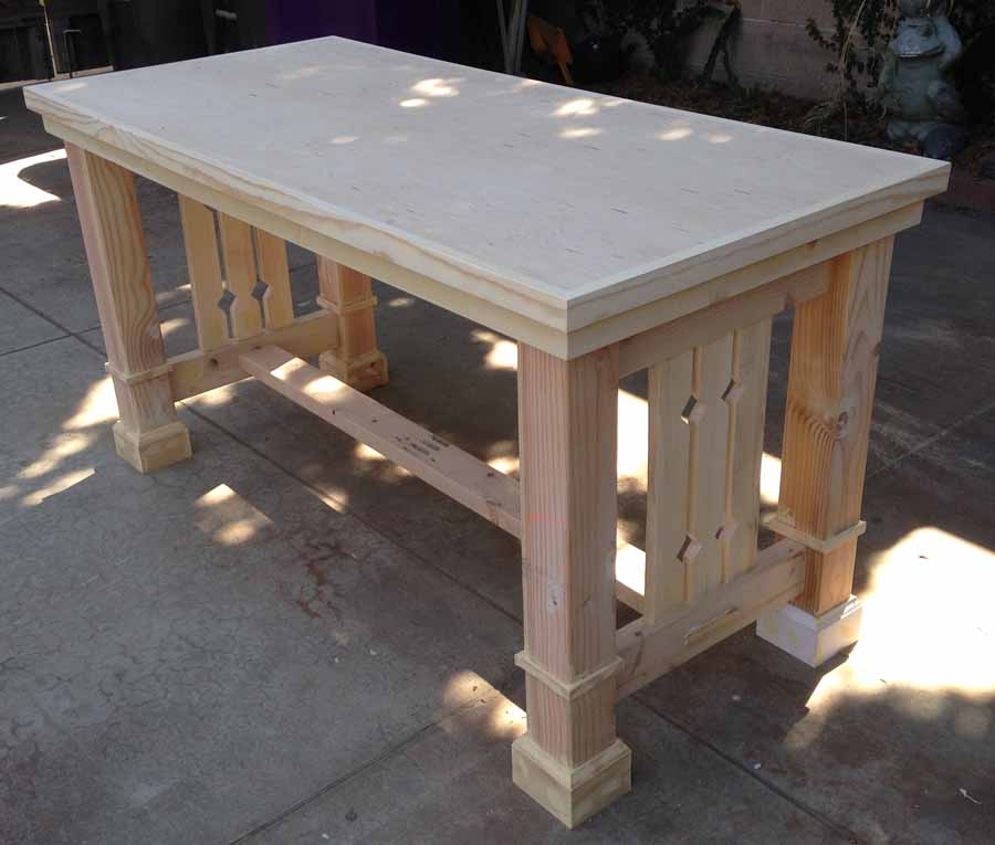 Ana white mission style dining table diy projects for Mission style kitchen table