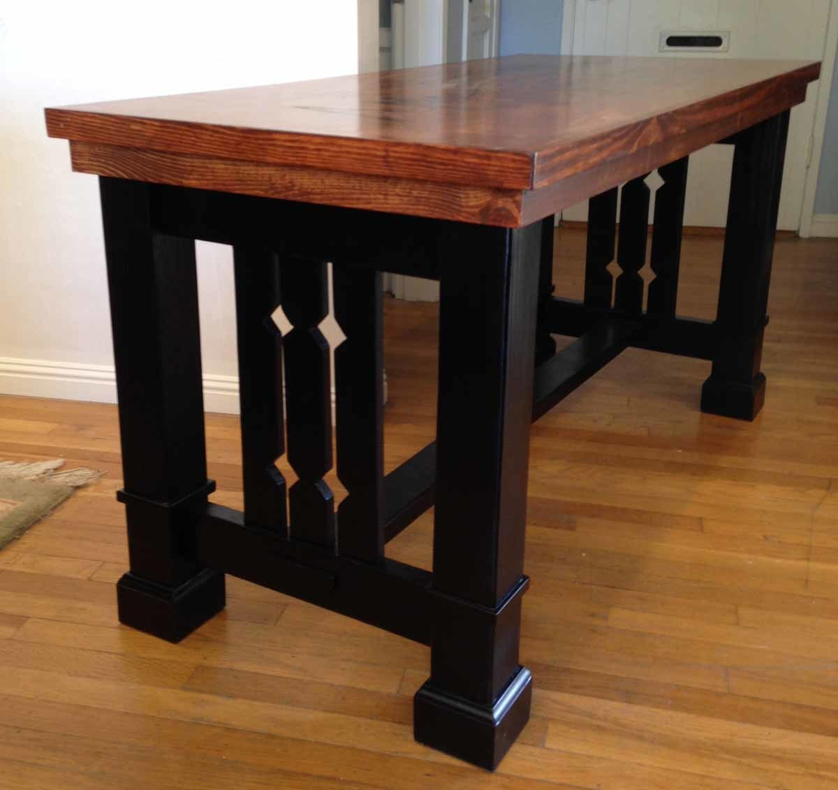side detail of trestle end - Mission Style Dining Table