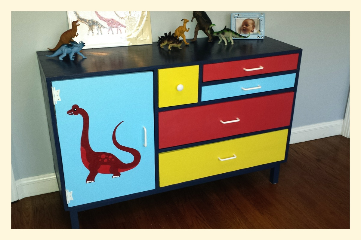 Diy Crafts For Baby Room: Dinosaur Patchwork Dresser For Baby's Room